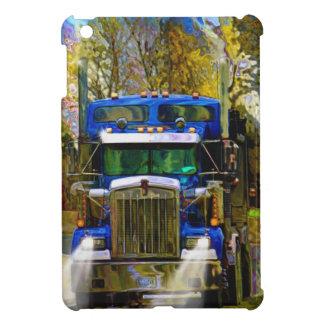 Big Rig Blue Lorry Heavy Transport Trucker Art iPad Mini Cases