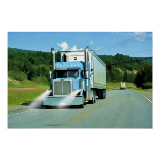 Big Rig Freezer Lorry Truck-Driver Art Poster