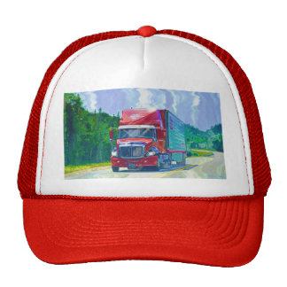 Big Rig Highway Driving Red Trucker Hat Series