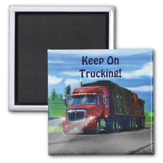 Big Rig Red Cargo Truck for Kids and Truckers 2 Inch Square Magnet