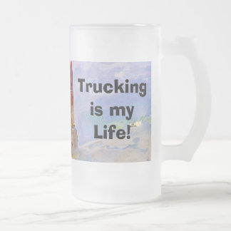 Big Rig Red Cargo Truck for Kids and Truckers 16 Oz Frosted Glass Beer Mug