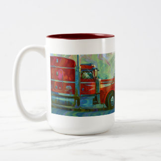 Big Rig Red Cargo Truck for Kids and Truckers Two-Tone Coffee Mug