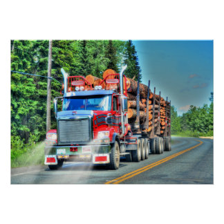 Big Rig Red Logging Truck Driver's Art Poster