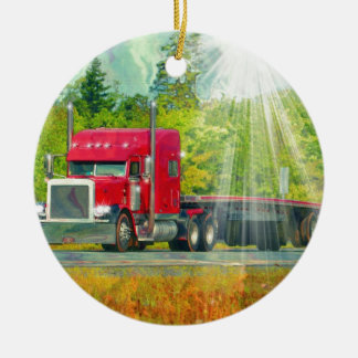 Big Rig Red Truck Heavy Transport Vehicle Ceramic Ornament