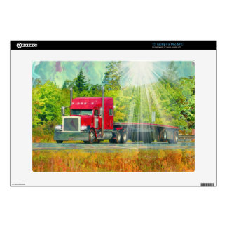 Big Rig Red Truck Heavy Transport Vehicle Laptop Decal