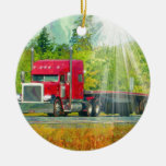 Big Rig Red Truck Heavy Transport Vehicle Ornament