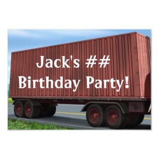 Big Rig Semi Truck Birthday Party Invitations