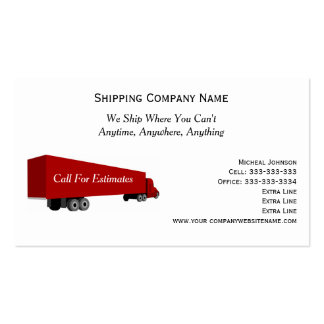 Big Rig Truck Professional Shipping Moving Company Business Card