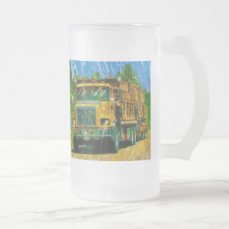Big Rig Trucker's Lorry Design for Truck-lovers Frosted Glass Beer Mug