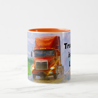 Big Rig Trucker's Lorry Design for Truck-lovers Two-Tone Coffee Mug