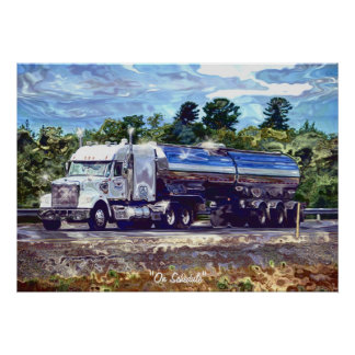 Big Rig White Petrol Tanker Driver's Art Poster