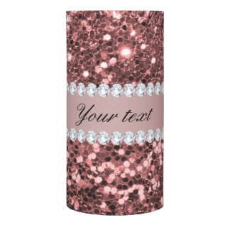 Big Rose Gold Faux Glitter and Diamonds Flameless Candle
