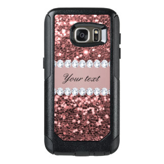 Big Rose Gold Faux Glitter and Diamonds OtterBox Samsung Galaxy S7 Case
