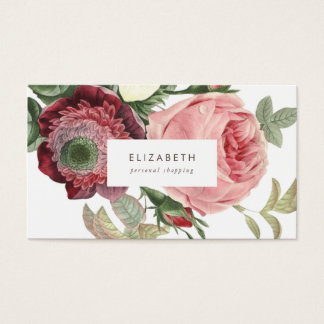 Big Roses Pink Red Flowers Business Card