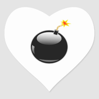 Big Round Bomb with Lit Fuse Heart Sticker