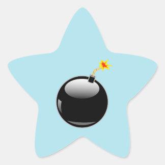 Big Round Bomb with Lit Fuse Star Sticker