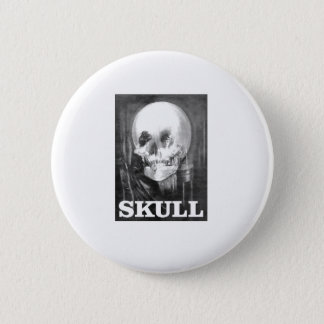 big round skull pinback button