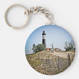 Big Sable Point Lighthouse Basic Round Button Keychain