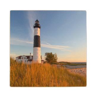 Big Sable Point Lighthouse On Lake Michigan 3 Wood Coaster