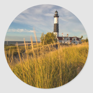 Big Sable Point Lighthouse On Lake Michigan Classic Round Sticker