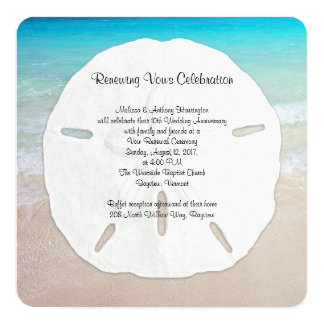 Big Sand Dollar Seaside Vow Renewal Card