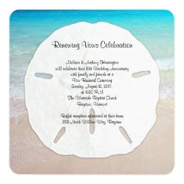sandpiperWedding Big Sand Dollar Seaside Vow Renewal Card