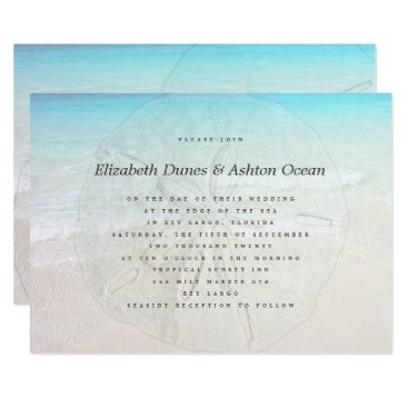 Beach Themed Big Sand Dollar Seaside Wedding Invitation