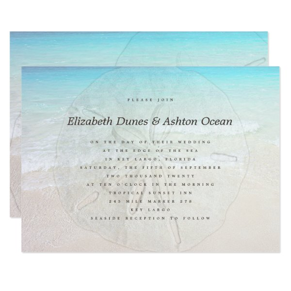 Big Sand Dollar Seaside Wedding Invitation
