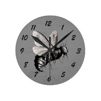Big Scary Bee Black White Illustration Skull Wings Round Clock