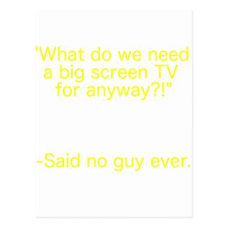 Big Screen TV Said No Guy Ever Yellow Brown Green Post Card