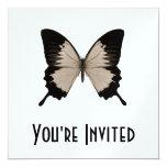 Big Sepia Orange & Black Butterfly 5.25x5.25 Square Paper Invitation Card