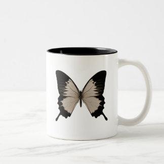 Big Sepia Orange & Black Butterfly Two-Tone Coffee Mug