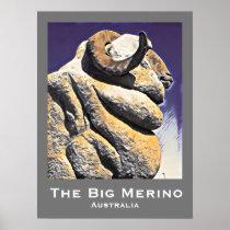 Big sheep big Merino Australian retro travel print