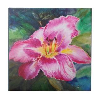 Big Shiny Pink Flower Ceramic Tile