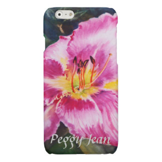 Big Shiny Pink Flower with Your Name Glossy iPhone 6 Case