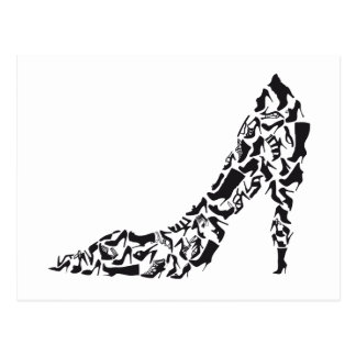 big shoe with different shoe silhouettes postcard