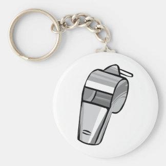 Big Silver Whistle Basic Round Button Keychain