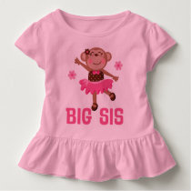 Big Sis Ballerina Monkeys Girls Ruffle T-shirt