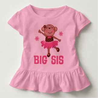 Big Sis Ballerina Monkeys Girls Ruffle T-shirt