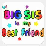 Big Sis Best Friend Square Stickers
