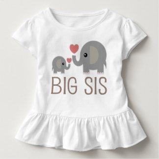 Big Sis Girls Cute Elephants Ruffle T-shirt