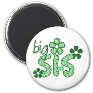Big Sis Green Flowers Magnets