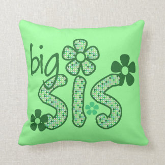 Big Sis Green Flowers Throw Pillow