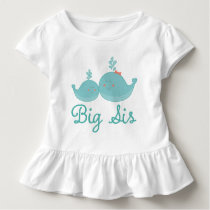 Big Sis Nautical Whales Girls Ruffle T-shirt
