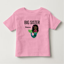 Big Sister African American Mermaid Faux Foil Girl Toddler T-shirt