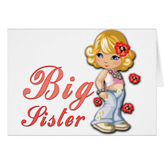 Big Sister and Flowers Card