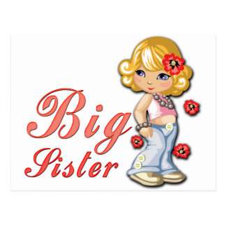 Big Sister and Flowers Postcard