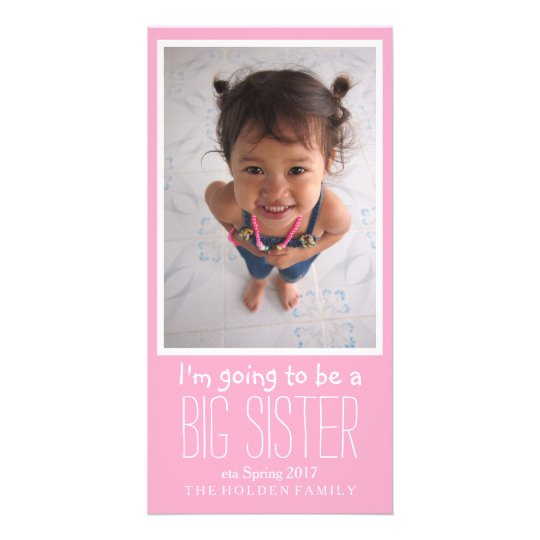 Big Sister Baby Arrival Announcement Card Zazzlecom - Baby arrival announcement