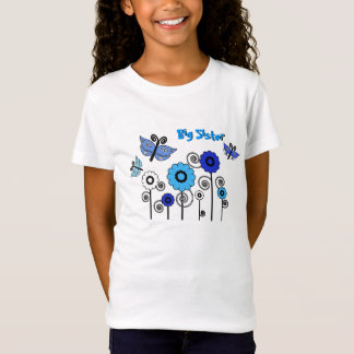 Big Sister, blue & white butterflies and flowers T-Shirt