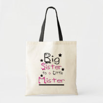 big, sister, budget, tote, daycare, pink, school, education, children, library, Bag with custom graphic design